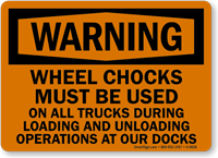Warning Wheel Chocks Loading Unloading Sign