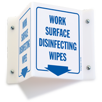 Work Surface Disinfecting Wipes Projecting Sign