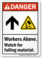 Workers Above Watch For Falling Material ANSI Danger Sign