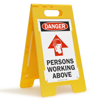 Danger Persons Working Above Fold-Ups® Floor Sign