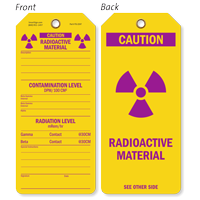 Caution Radioactive Material Contamination Level Tag