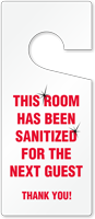 Room Sanitized For Next Guest Door Tag