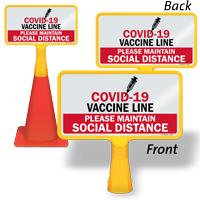 COVID-19 Vaccine Line Please Maintain Social Distance Vaccine Safety Sign