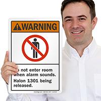 Don't Enter Room Alarm Sounds Halon 1301 Sign