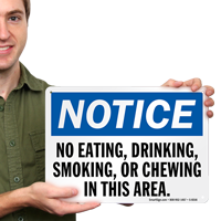No Eating Drinking Smoking Or Chewing Sign