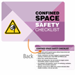 Confined Space Safety Checklist Heavy-Duty Safety Wallet Card