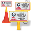 Mask Required Wait In Car Until Your Turn ConeBoss Sign