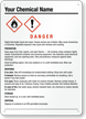 Customizable GHS Sign, Add Chemical Name, Pictograms, Hazards