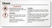 Small Ethanol Danger GHS Chemical Label