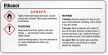 Ethanol Danger Small GHS Chemical Label