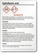 Hydrofluoric Acid GHS Label - Medium