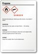 Propane Danger Medium GHS Chemical Label