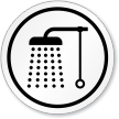 Bathroom Shower Symbol ISO Circle Sign