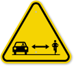 ISO Car Bike Passing Distance Symbol Warning Sign