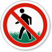 Do Not Walk On Grass ISO Prohibition Sign