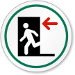 Fire Exit Door Left Symbol ISO Circle Sign