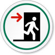 Fire Exit Door Right Symbol ISO Circle Sign