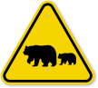 ISO Bears Crossing Symbol Warning Sign