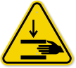 ISO Hand Crush Force From Above Warning Sign
