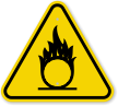 ISO Oxidizing Flame Over Circle Symbol Warning Sign