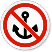 No Anchoring Symbol ISO Prohibition Circular Sign