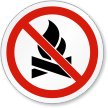 No Campfire Symbol ISO Prohibition Circular Sign