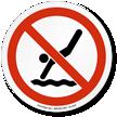 No Diving Symbol ISO Prohibition Circular Sign