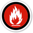 No Flammable Material Symbol ISO Circle Sign