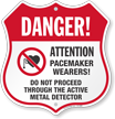 Active Metal Detector Pacemaker Wearers Shield Sign