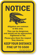 Texas Alligator Warning Sign