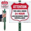 Area Under 24 Hour Video Surveillance LawnBoss Sign