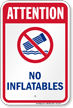 Attention No Inflatables Water Safety Sign