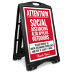 Attention Social Distancing Applies Outdoors BigBoss A-Frame Portable Sidewalk Sign