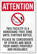 Attention This Facility Is Handshake Free Zone Sign