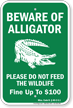Beware of Alligator, Mississippi Alligator Warning Sign