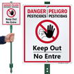 Bilingual Danger Pesticides Keep Out Lawnboss Sign