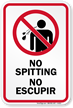 Bilingual No Spitting Sign (with Graphic)