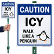 Caution Icy Walk Like A Penguin LawnBoss Sign