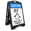 Caution Icy Wall Like A Penguin Sidewalk Sign
