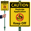 Caution Pesticide Application Keep Off Lawnboss Sign