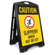 Caution Slippery When Wet Icy Sidewalk Sign