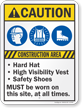 Construction Area Hard Hat Vest Safety Shoes Sign
