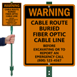 Custom Warning Cable Route Buried LawnBoss Sign