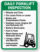 Custom Daily Forklift Inspection Rules Sign