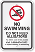 Do Not Feed Alligators No Swimming Sign
