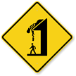 Caution Falling Snow Sign