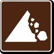 Falling Rocks Symbol Sign For Campsite