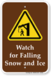 Watch For Falling Snow And Ice Campground Sign