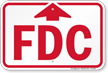 FDC With Upward Arrow Fire Department Connection Sign