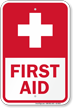 Red First Aid With Cross Symbol Sign